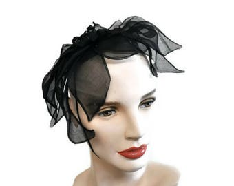 Vintage Black Fascinator // Wedding Hat Black Chiffon Cap // Small Hat