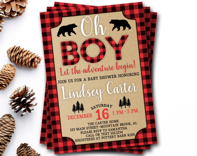 Buffalo Plaid Baby Shower Invitation, Lumberjack Baby Shower Invitation, Red Plaid Baby Shower, Rustic Baby Shower, Rustic Boy Baby Shower