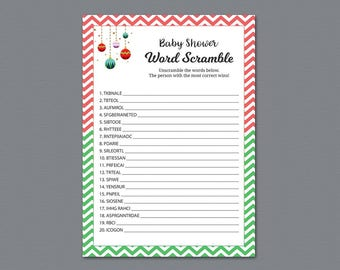 Word Scramble Game Printable, Baby Shower Games, Christmas Candy, Baby Shower Activity, Instant Download, Unscramble, Words Puzzle, B018