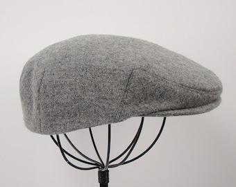 Light Grey Heather Wool Children's Sixpence Hat -  Flat Jeff Cap, Ivy Cap, Driving Cap for Men, Women, and Children