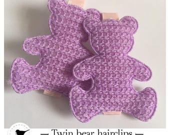 Twin bear hair bows