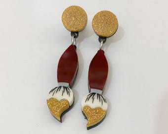 Dipped Paint Brush Earrings