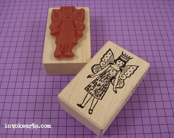 Fairy Girl 1 Stamp / Invoke Arts Collage Rubber Stamps