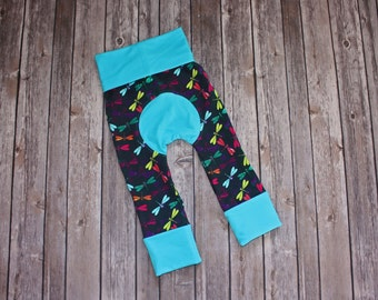 Maxaloones Grow With Me Pants Blue Dragonfly Baby Leggings