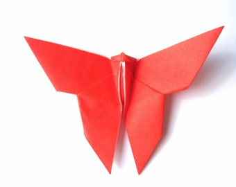 Butterfly Party Decorations, Origami Butterfly (50) Red Color , Paper Butterfly Red Wedding Decor