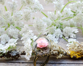 Boho ring, flower ring, gift for woman, terrarium jewelry, botanical ring, real flower jewelry, nature ring, dainty ring