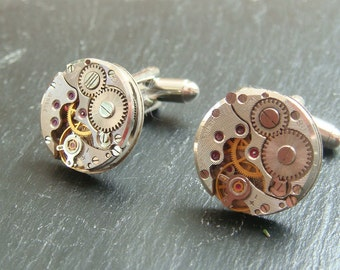 Circular Steampunk Cufflinks lovely set of watch movement cufflinks, ideal gift for a wedding, anniversary or birthday