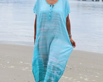 Flowy teal Beach caftan dress - Long Beach Cover up.