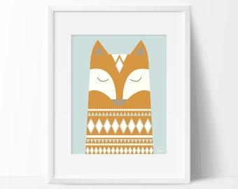 Graphic fox printable, Woodland fox poster, Fox art print, Forest Woodland wall art, Retro fox printable,Kids room fox print,Nursery fox art
