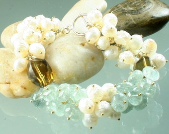 FINAL SALE * 50% off * SALE * Softly - Whiskey Quartz - Moss Aquamarine - White Druzy Pearls - Gold Vermeil - Gemstone Bracelet