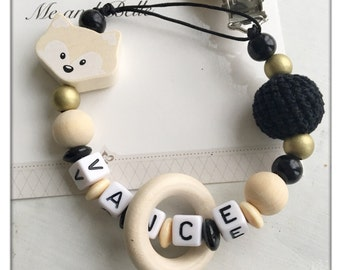 Beaded pacifier clip, dummychain, personalized pacifier clip, beaded dummy chain, baby clothing ideas, fox pacifier clip