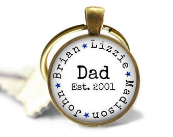 Dad, Est. Date with Names - Key Chain in choice of Silver, Bronze, Copper or Black - Hearts or Stars - Father's Day