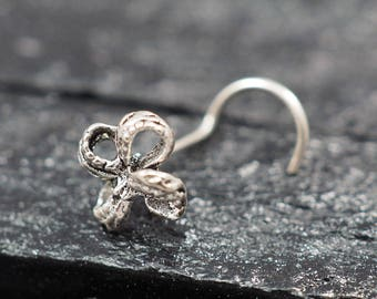 24 gauge, Bow Silver nose screw, nose stud, nose ring
