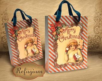 printable Christmas Bag Girl with Snowball/ vintage/mint/gift bag/DIY/ INSTANT DOWNLOAD digital collage sheet