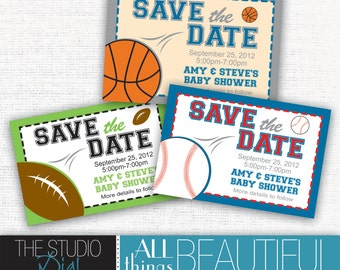 PRINTABLE Highly Customizable Sports Themed Baby Shower Save the Dates