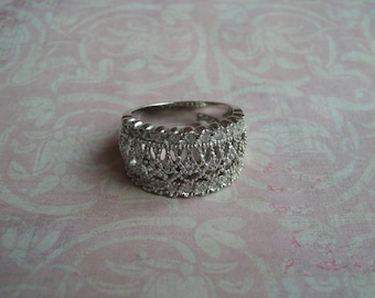 Vintage  Art Deco Sterling Silver Filigree with Absolute Crystal Stone Ring Size 6