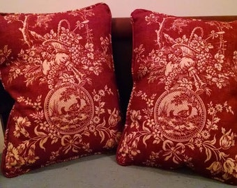 Handmade Rectangle Red and Gold Toile and Shantung Silk Pillow (#30162)