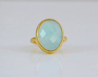Large Aqua Chalcedony ring, March Birthstone, statement ring, gold ring, gemstone ring, stackable ring, faceted ring - oval ring