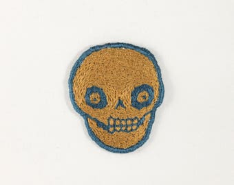 Hand Embroidered Olive Green and Deep Blue Skull Patch