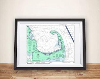Cape Cod Art,  Nautical Wall Decor, Map Art, Cape Cod Print, Cape Cod Map, Cape Cod Wall Art, Nautical Chart Print