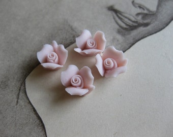 4 PC Blush Pink Porcelaine Flower Cabochon / German Bisque - 8mm