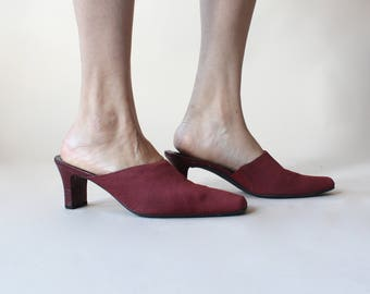 SALE vintage 90s red fabric mules, size US 9 | EUR 40
