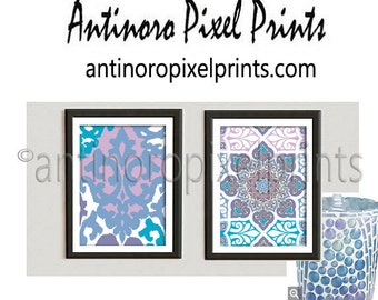Moroccan Tile Ikat Shades of Purples Turquoise Pictures -Set of (2) - 8x10 Prints - Custom Colors and Sizes Available (UNFRAMED) #226964384