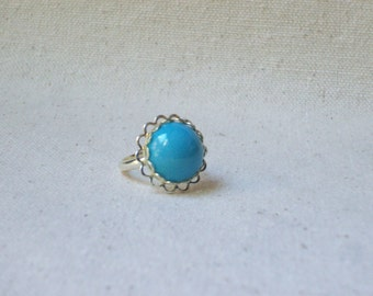 Turquoise blue ring,Jewelry,Scalloped ring,Vintage ring,Unique jewelry