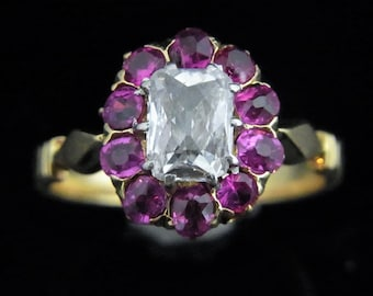 Antique Old Cut Diamond Ruby Ring 18k Yellow Gold Engagement Victorian c.1800 LAYAWAY AVAILABLE