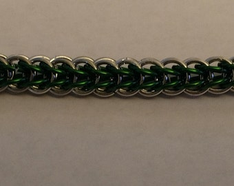 Green and Silver Persian Chain Maille Bracelet