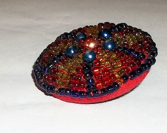 Vintage Beaded Button, Hand Beaded, Native American