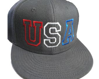 USA Red White and Blue Embroidered Charcoal Grey Structured Flat Bill Hat