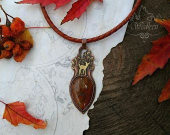 Fawn pendant, Fawn necklace, Copper deer necklace, Fawn totem, Deer totem, Deer pendant necklace, Fairy tale necklace, Agate necklace