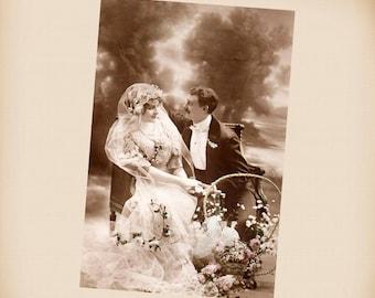 Wedding Couple New 4x6 Vintage Postcard Image Photo Print CP42