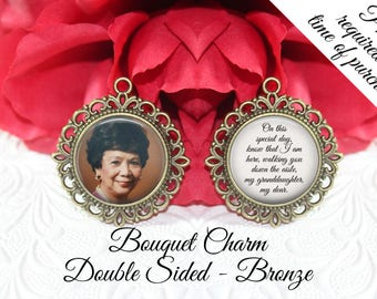 SALE! Memorial Bouquet Charm - Double-Sided - Personalized with Photo - On this special day know that I am here- Cyber Monday