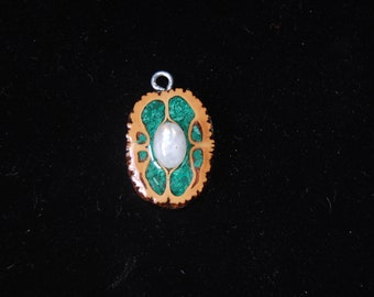 Black Walnut Pendant with Malachite Inlay and Moonstone