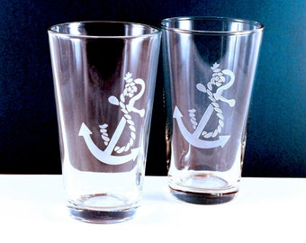 4 Anchor Etched Pint Glasses