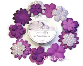"Set of 24 flowers light purple paper ""lilac"" embellishment scrapbooking (ref.110). *."