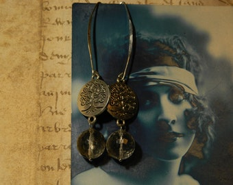 Earrings Crystal faceted balls and tree of life.
