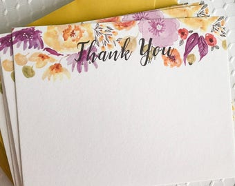 Purple & Yellow Watercolor Floral Thank You Notecards - Set of 10