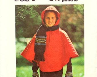 Girl's Poncho Pattern Size Large Butterick 4454 Vintage Sewing Pattern
