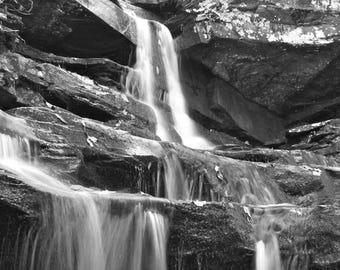 Waterfall Art Print, Nature Photography Black and White Photography Forest Landscape Wall Art Wall Decor Home Decor Woodland Waterfall Photo