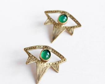 Mal de ojo pendientes pendientes de ágata verde negro Onix pendientes cristal Pendientes pendientes tribales boho pendientes Bohemia joyería piedras pendientes