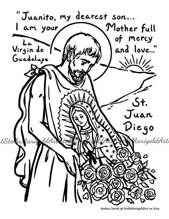 Saint Juan Diego Coloring Page Black and White and Color
