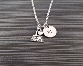 Silver Book Necklace - I Love To Read Charm Necklace - Personalized Necklace - Custom Gift - Initial Necklace - Librarian Gift - Reading