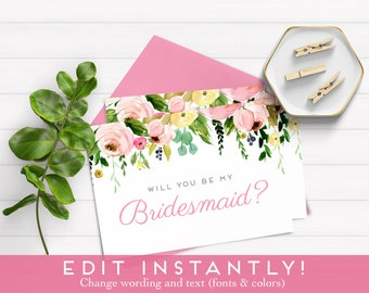 Bridesmaid Proposal, Will You Be My Bridesmaid Card, Will You Be My Bridesmaid Download, Instant Download, Printable Card, Ask Bridesmaid