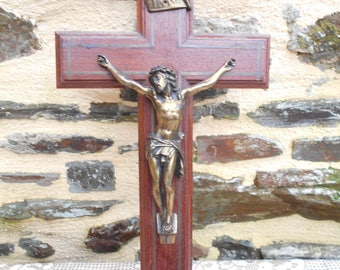 Large Vintage French Wooden Crucifix with Christ
