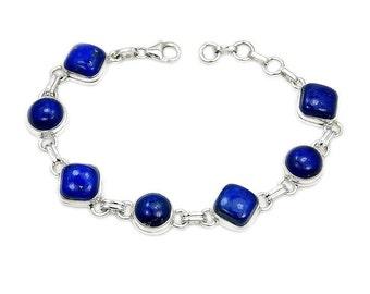 Lapis Lazuli Bracelet Sterling Silver Bracelet AD894 The Silver Plaza