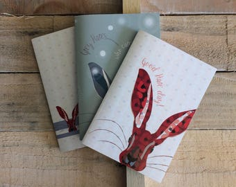 A6 Hare illustration notebooks - lined - plain - dotted paper