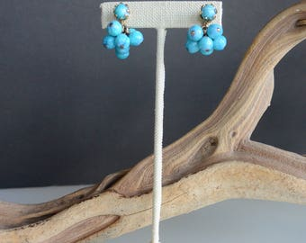 Vintage Blue Cluster Clip-On Earrings